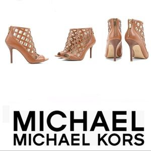 Michael Kors Lattice Leather Peep Toe Heels